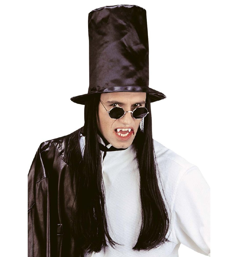 """VAMPIRE TOP HAT WITH BLACK HAIR"""