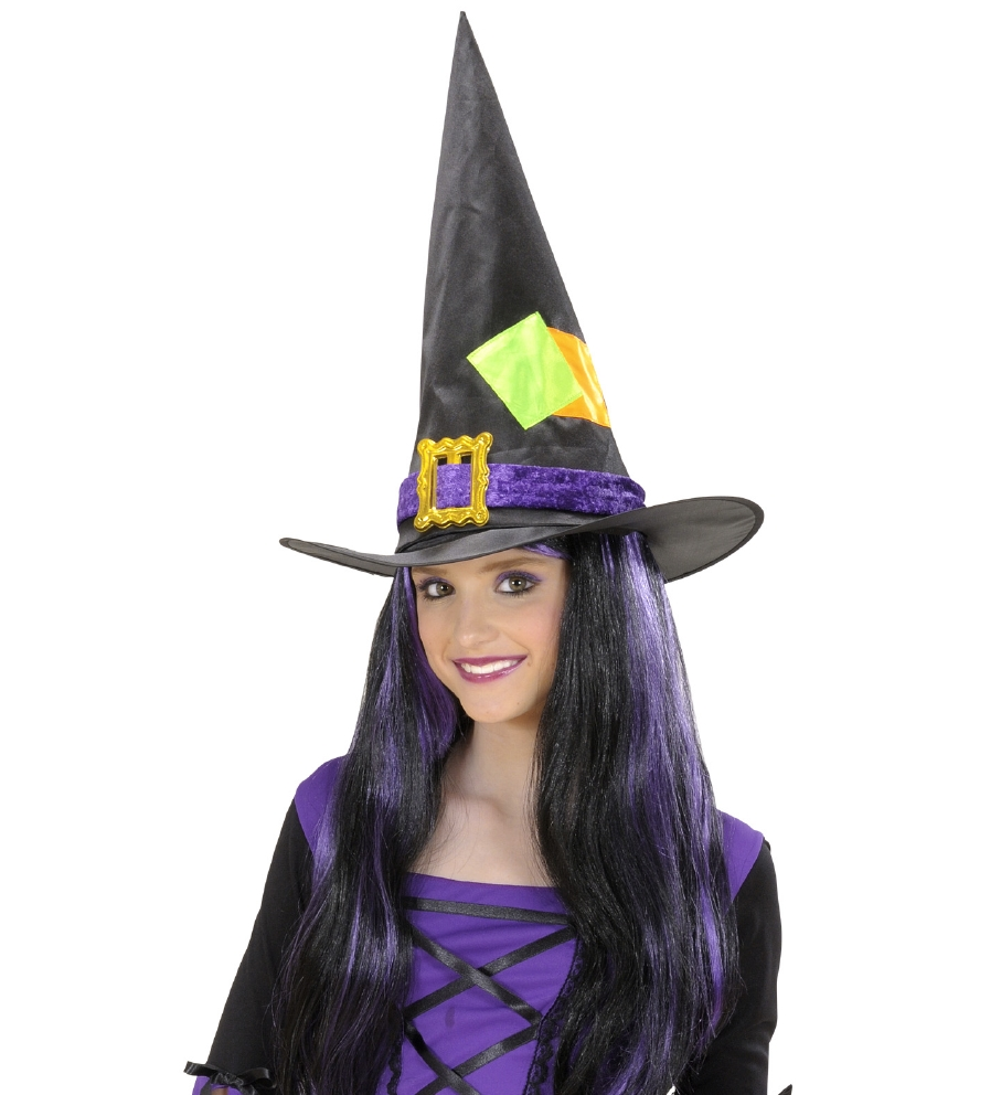 """WITCH HAT WITH PATCHES"" satin & velvet"