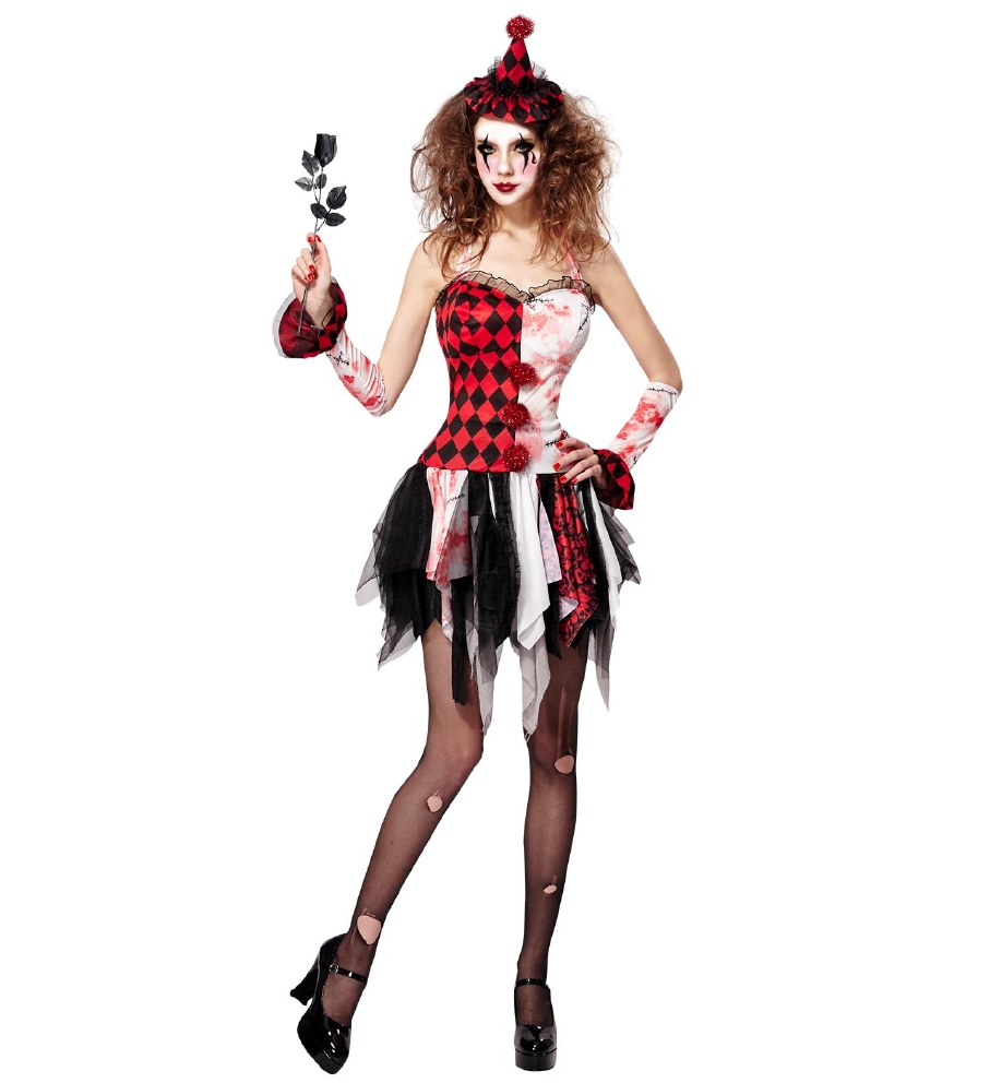 """EVIL HARLEQUIN"" (dress, cuffs, mini hat"