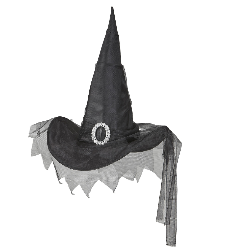 """""""BLACK WITCH HAT WITH TULLE"""""""