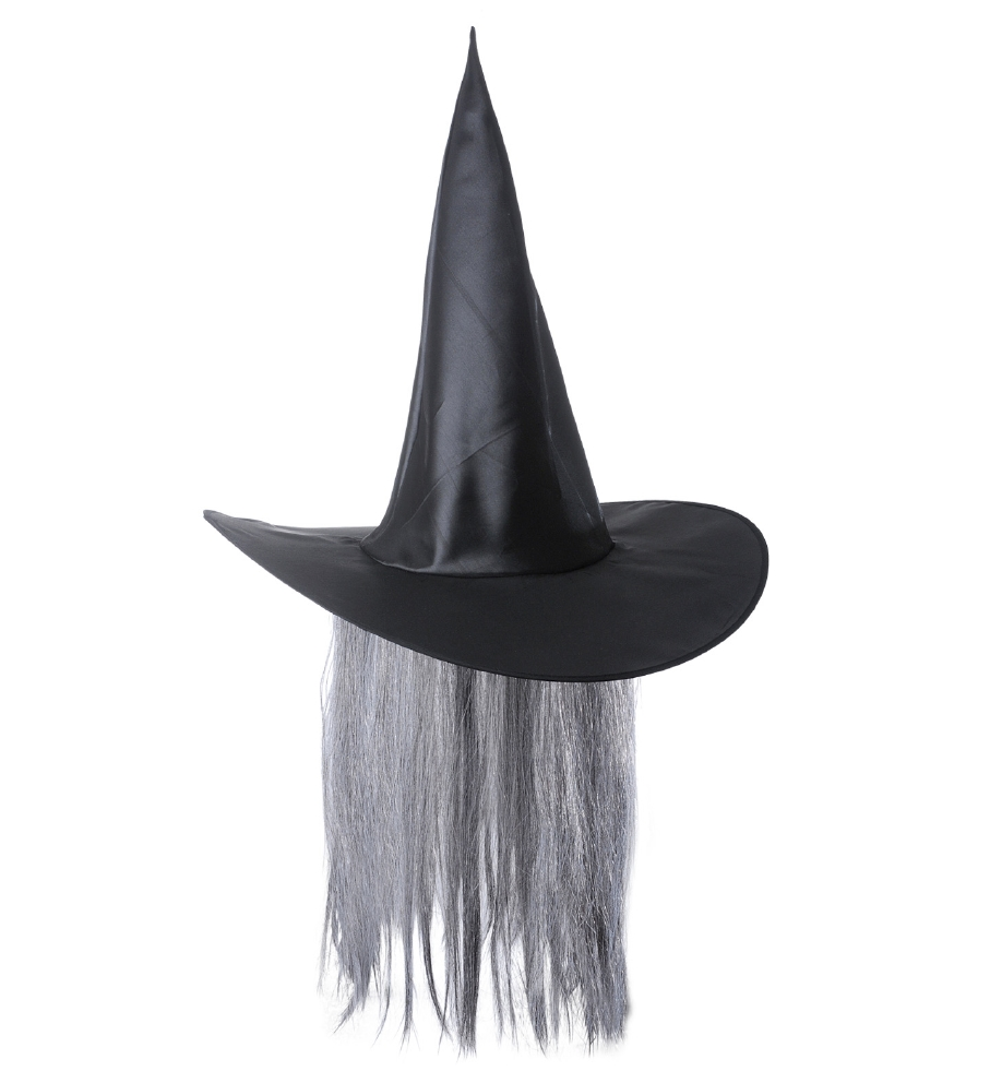 """WITCH HAT WITH GREY HAIR"" satin"